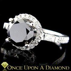 14K White Gold 2.82ctw Natural Round Black Diamond Halo Style Engagement Ring black-diamond-jewelry