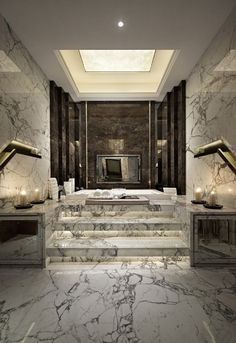 what a grand marble bath sunken tub and stairs! so glamorous