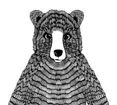 Mr Bear by Anna Ahmarova #drawing #bear #mono #hand #artstar #artstarindustries