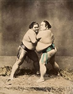 Two sumo wrestlers, ca. 1885