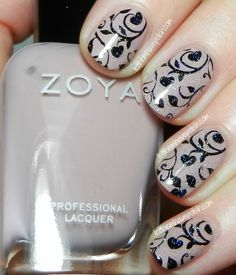 Start with a base of Zoya's Rue. Stamped from Pueen plate Pueen33.