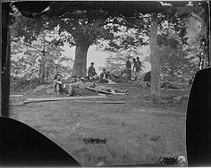 Wounded soldiers under trees, Marye's Heights, Fredericksburg. After the battle of Spotsylvania, 1864.