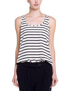 Adrianna Papell Black And White Stripe Scoop Neck Tank / Rue La La