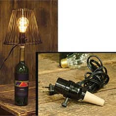 """Turn any bottle into a lamp with the """"Bottle Cork Lamp Adapter"""" ~  features a standard size socket with an on/off switch atop a black base with a tan cork. Includes 6-ft. long black cord. Shade sold separately."""