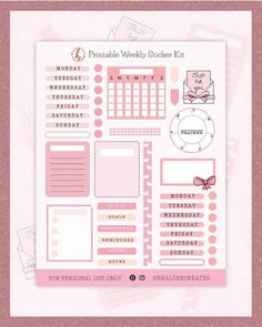 $3.25 · Now you can easily create a pink bujo theme with this printable bullet journal kit. Choose from 40 cute pink stickers that you can use to create gorgeous weekly spread designs and more! You can use… More Printable Stickers, Printable Planner, Printables, Journal Stickers, Planner Stickers, Bullet Journal Contents, Bullet Journals, Pink Envelopes, Aesthetic Stickers