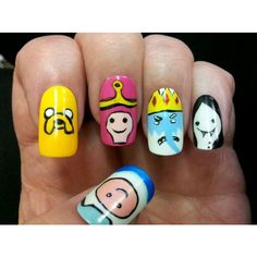 Adventure Time Nails ❤ liked on Polyvore featuring beauty products, nail care, nail treatments, nails, makeup and lullabies