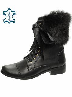 Čierne členkové kožen čižmy s kožušinou DKO021 f602bc23b95