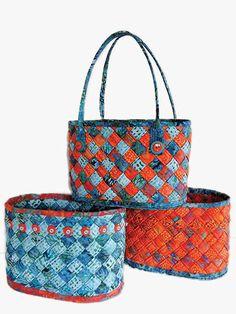 Diagonally Woven Baskets Sewing Pattern