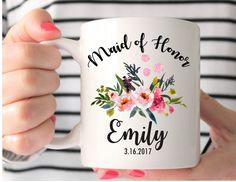 Maid of Honor Mug, Custom Wedding Mug, Maid of Honor Gift, Maid of Honor, Bridesmaids Mugs, Wedding Gift, Personalized Mug, Bridesmaid Gift by MysticCustomDesignCo on Etsy