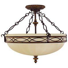 """Feiss Edwardian Collection 23"""" Wide Ceiling Light Fixture three 100 watt bulbs  $500+"""