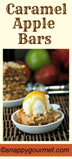 Caramel Apple Bars recipe - easy and delicious fall dessert! snappygourmet.com