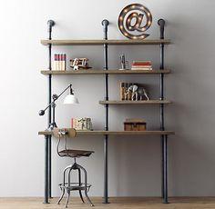 Antique-Inspired Pipe Desks : pipe desk