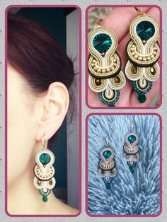 Rękodzieło Soutache earrings gold, brown, cream and emerald