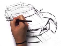 A car sketching demonstration by Sangwon Seok who creates a hypercar concept in bird's eye view using a black pencil. Pen Design, Car Design Sketch, Pen Sketch, Art Sketches, Concept Draw, Sketching Tips, Plant Markers, Birds Eye View, Automotive Design