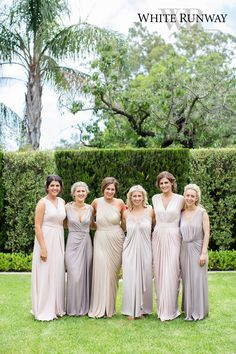 Our gorgeous bride Elyse chose six Pia Gladys Perey styles in different colours for her bridesmaids. The grecian-draped dresses in soft and nude colours complimented her Mediterranean theme perfectly. #whiterunway #realrunway #mismatchedbridesmaids