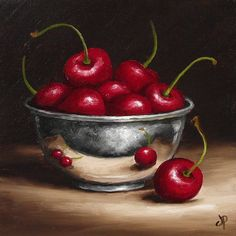 Cherries in Silver Bowl Original Oil Painting by JanePalmerArt, £59.00