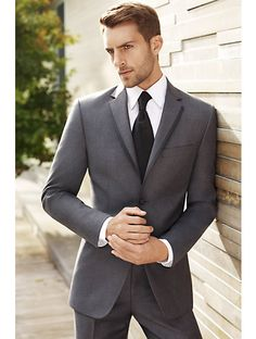 Vera Wang men's grey suit....what my man and his groomsmen will be wearing with purple ties. Yummy!