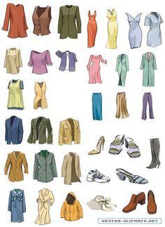 Модная одежда и обувь рисунок