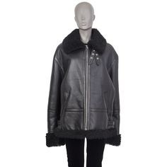 Vetements Shearling Cuffs-And-Collar Biker Leather Jacket Peplum Leather Jacket, Shearling Jacket, Vest Jacket, Biker Leather, Black Leather, Cropped Blazer, Street Chic, Clothes For Women, Vests