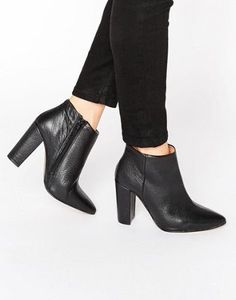 Selected Femme Thora Black High Heeled Leather Ankle Boots