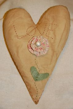 Love Stitched Flower Heart Pillow