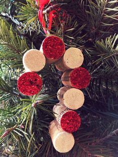 Items similar to Red and White Glitter Candy Cane Cork Christmas Tree Ornament on Etsy - Beautiful Candy Cane Cork Ornament. Made with unique corks from various wineries. Wine Cork Art, Wine Cork Crafts, Wine Craft, Wine Bottle Crafts, Cork Christmas Trees, White Christmas, Christmas Ornaments, Xmas, Wine Cork Ornaments