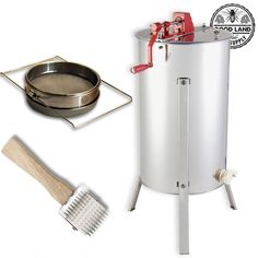 Goodland Bee Supply 2 Frame Honey Extractor, Uncapping Roller, and Stainless Steel Sieve Honey Strainer -