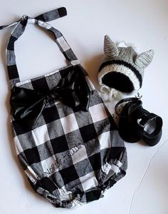 Celebrity Inspired Flannel Buffalo Plaid Romper Accented By Big Faux Leather Bow Handmade Mary Jane Moc Plus Teenie Tiny Wolf Hat Nordic Baby Girl Set