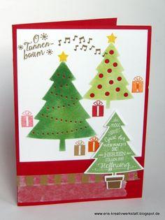 """Weihnachtskarten """"O Tannenbaum""""   http://eris-kreativwerkstatt.blogspot.de/2015/09/weihnachtskarten-o-tannenbaum.html  #stampinup #weihnachten #xmas #christmas #tannenbaum #teamstampingart"""