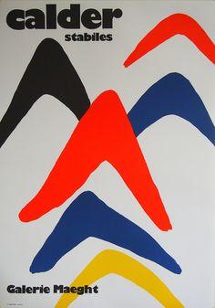 AFFICHE EXPOSITION ORIGINALE 1971 Pour les expositions de Alexander Calder * Intitulés « Stabiles » * Galerie Maeght, Paris 1971 * Galerie qualité imprimé dans un inconnu mais limitée * Dans lensemble prêt à cadre taille 55cm de large x 77 cm de haut * Ou 21 3/4 x 30 1/4 * Offset Lithographie sur papier couché lourd * Très bon état Alexander Calder (1898-1976) était un sculpteur américain, connu comme le créateur de la mobile, un type de sculpture cinétique fait avec délicatement équilibré…