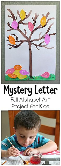 Mystery Letter Fall Tree: Art and ABC Activity for Kids- Can be used for name practice, letter recognition, letter sounds, and spelling! ~ BuggyandBuddy.com