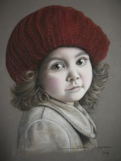 Portrait THE GIRL WITH THE RED BERET 35 x 50 cm Dry pastel on velvet paper http://portraitartistsbysema.com/?portfolio=the-girl-with-the-red-beret