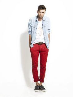 """Red """"Chino"""" Pant & Denim Shirt"""