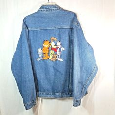 Garfield Cat Denim Jean Jacket Embroidered Characters Mens Size Large #BlitzzStudios #JeanJacket