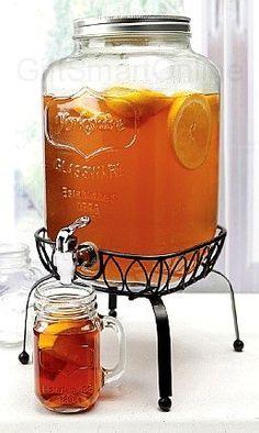 Georgia Peach Mason Jar Beverage Dispenser w/ Stand $40
