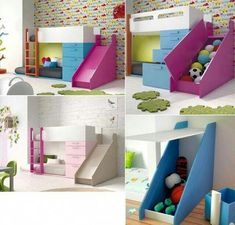 Fashionable, functional, enjoyable, cosy as well as comfy kids' room decoration-- our choice of youngsters's room decorating ideas will maintain the children pleased from toddler to teen and also all ages in-between. Bunk Beds With Stairs, Kids Bunk Beds, Loft Spaces, Kid Spaces, Girl Room, Girls Bedroom, Bunk Bed Designs, Kids Bedroom Furniture, Bedroom Ideas