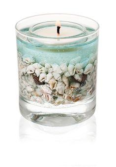 Stoneglow Botanicals Sea Shore Gel Tumbler Natural Wax Candle real shells 3674