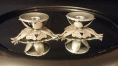Aluminum Candle Holders Ribbon Design by frankiesfrontdoor on Etsy