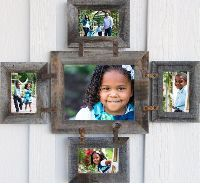 Barnwood Photo Collage Frame for (1) 8 X 10 & (4) 5 X 7s in your choice of colors
