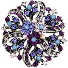 Amethyst Purple Flower Wedding Swarovski Crystal Pin Brooch and Pendant $18.59