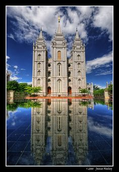 Mormon Temple in Salt Lake City is reflected in the pool on the  Main Street plaza