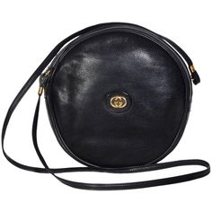 Gucci 70's Vintage Black Leather Canteen Crossbody Bag ($660) ❤ liked on Polyvore featuring bags, gucci, purses, purses/backpacks, backpack bags, leather bags, cross body, leather cross body and crossbody backpack