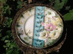 Antique Three Crown Germany plate hand painted by Glassthatrocks, $16.00
