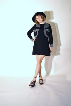 1960s MOD mini dress / preppy black tweed Inmart by onefortynine, $59.00
