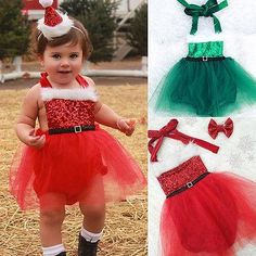 f4aefb0a8a4 Cute Newborn Infant Baby Girls Bodysuits Christams Santa Kids Tutu Clothes  XMAS Outfits. Yesterday s price · Baby Girl RomperBaby ...