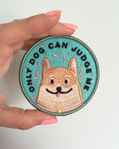 Only Dog Can Judge Me funny cute dog embroidered felt patch featuring a cuddly Corgi.  3 circle iron on patch. Ships from Winnipeg, Manitoba, Canada. Please read shipping information prior to ordering.