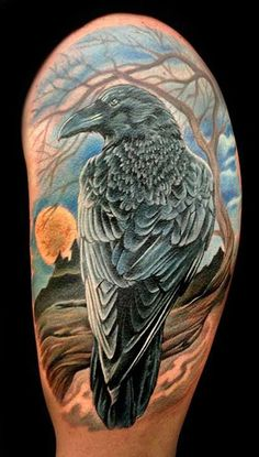 Look at all those feathers!  Raven Hlafsleeve Tattoo - 60+ Mysterious Raven Tattoos  <3 <3