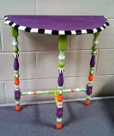 Little Half Moon Table painted with CeCe Caldwell's Chalk Paint by Carolynsfunkyfurniture.