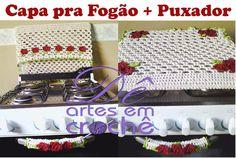 Jogo de Capa pra Fogão Dupla Face + 01 Puxador em Crochê by Dê Artes em Crochê