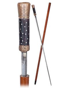 Tortoise and Gold Sword Cane-Ca. 1840-A tortoise